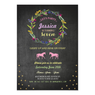 Horse Riding Party Invite Pony Wreath Invitation