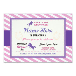 Horse Riding Pink Purple Stripe Pony Invitation