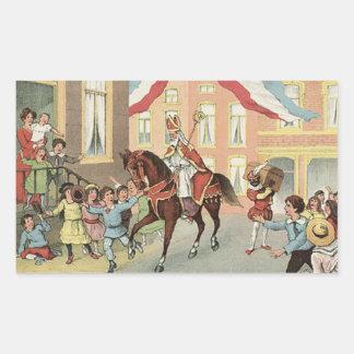 Horse Riding Sinterklaas Dutch St. Nick Vintage Sticker