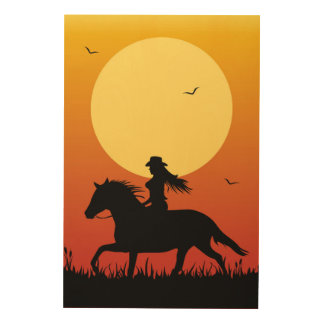 Horse Riding Wood Wall Art