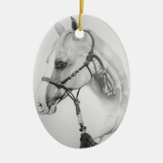horse, rodeo ceramic oval ornament