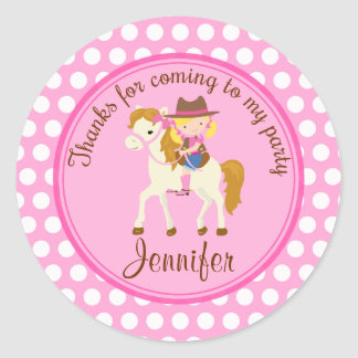 Horse round personalized favor tag round sticker