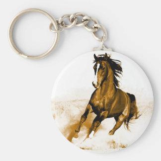 Horse Running Basic Round Button Keychain