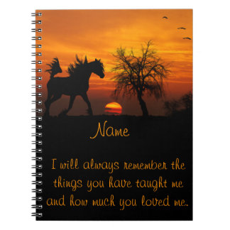 Horse Running Free at Sunset Spiral Note Books
