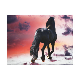 Horse running free stretched canvas prints