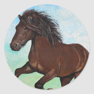 Horse Running Free Round Sticker