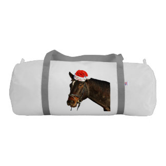 Horse santa - christmas horse - merry christmas gym bag