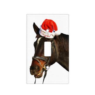 Horse santa - christmas horse - merry christmas light switch cover