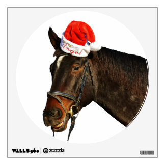 Horse santa - christmas horse - merry christmas wall decal