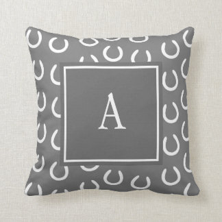 Horse Shoe Monogram Grey Throw Pillow