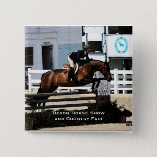 Horse Show Jumper Square Pin