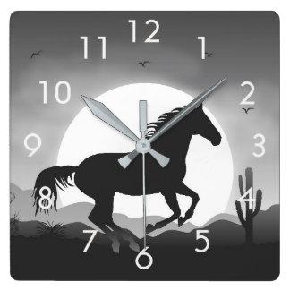 Horse Silhouette at Sunset Desert Wall Clock