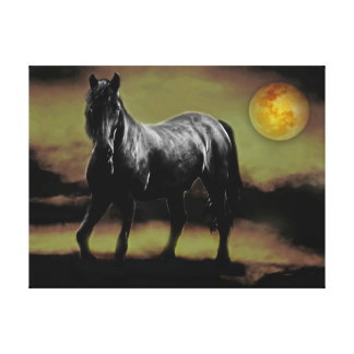 Horse silhouette by moonlight gallery wrapped canvas