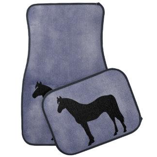 Horse Silhouette Icon Blue Floor Mats