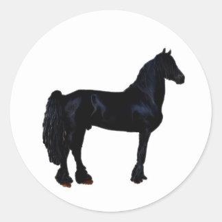 Horse silhouette in black and white classic round sticker
