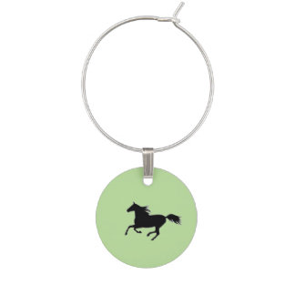 Horse Silhouettes Wine Charm