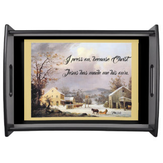 Horse Sleigh Jesus Bible Press On Serving Tray