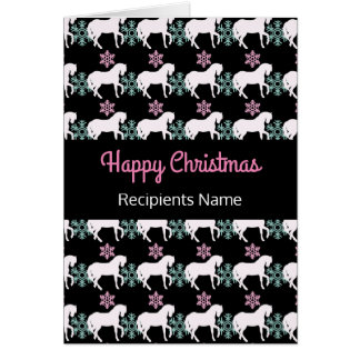 Horse Snowflake Happy Christmas Card