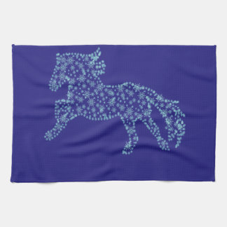 Horse snowflake new year  , white snowstorm kitchen towels