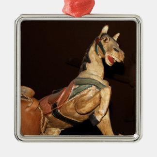 Horse Statue and Mexican Decor Silver-Colored Square Ornament
