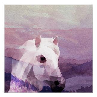 Horse Sunset Pink Purple Design Poster Art