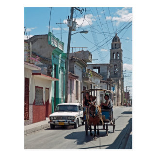 Horse taxi postcard