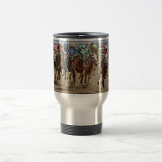 Horse Thoroughbreds Rounding Last Turn Travel Mug