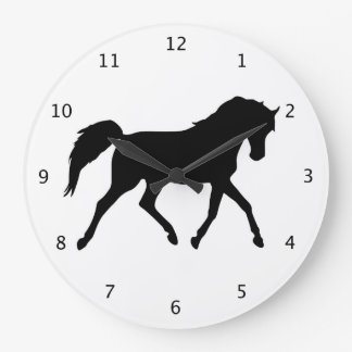 Horse trotting beautiful black silhouette wallclock