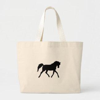 Horse trotting black silhouette tote bag gift idea