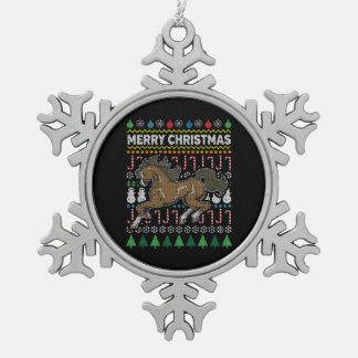 Horse Ugly Christmas Sweater Wildlife Series Snowflake Pewter Christmas Ornament