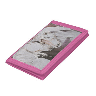 Horse Wallet- Watercolor Style, Peach/Pink Tri-fold Wallets