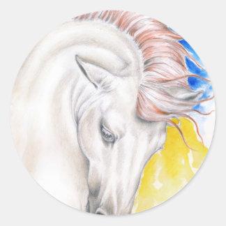Horse Watercolor Art Classic Round Sticker