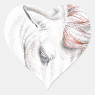 Horse Watercolor Art Heart Sticker