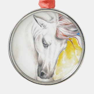 Horse Watercolor Art Metal Ornament
