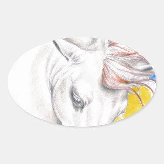 Horse Watercolor Art Oval Sticker