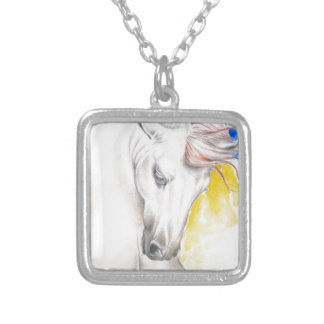 Horse Watercolor Art Silver Plated Necklace