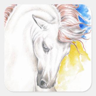 Horse Watercolor Art Square Sticker