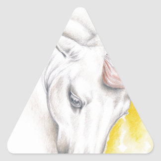 Horse Watercolor Art Triangle Sticker