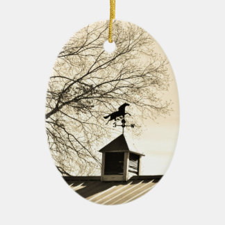 Horse Weather Vane sepia Ceramic Oval Ornament