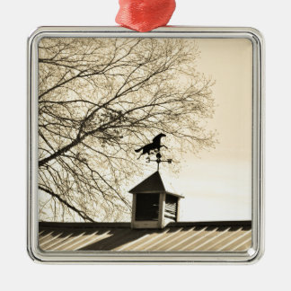 Horse Weather Vane sepia Silver-Colored Square Ornament