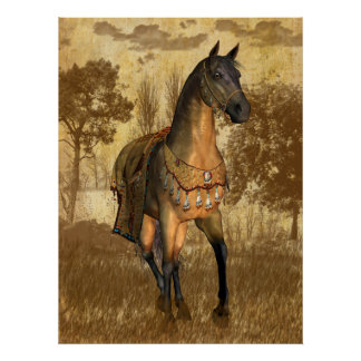 Horse With Blanket Equestrian Poster