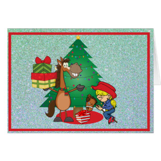 Horse With Gifts and Stick Horse Cowgirl  Card