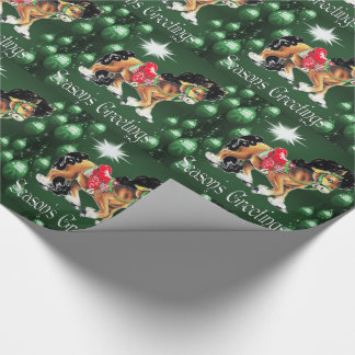 Horse With Green Ornaments  Green Season's Greetin Wrapping Paper