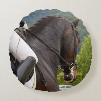Horse with Raising Round Pillow