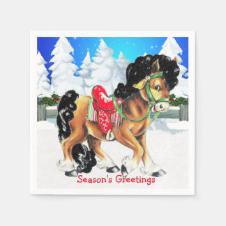 Horse With Red Saddle Winter Scene Napkins Disposable Napkin