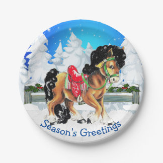 Horse With Red Saddle Winter Scene Paper Plate