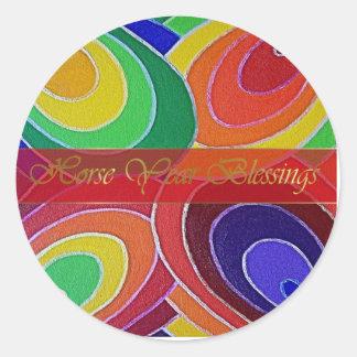 Horse Year Spin Spirals Round Sticker