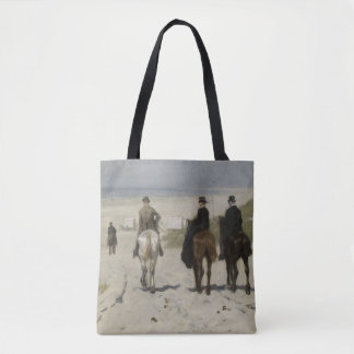 Horseback Ride along the Beach - Fine Art Tote Bag
