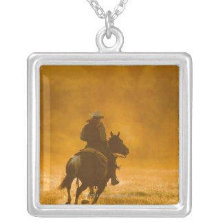 Horseback rider 3 silver plated necklace