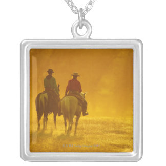 Horseback riders 10 silver plated necklace